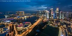 Singapore Blue Cityscape (20161231-DSC00971) (Michael.Lee.Pics.NYC) Tags: singapore marinabay cityhall cbd padang centralbusinessdistrict esplanade cityscape architecture aerial bluehour night twilight swissotelstamford singaporeriver sony a7rm2 voigtlanderheliar15mmf45