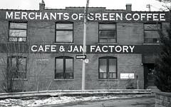Merchants of Green Coffee (Bill Smith1) Tags: believeinfilm billsmithsphotography december2016 hc110b heyfsc leslieville nikkoraf50f18lens nikonn90s rolleiretro400s toronto