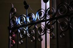 The Gate (gripspix (OFF)) Tags: 20161007 konstanz constance vacation urlaub kirche church münster detail innenraum indoor licht light colorful bunt buntglasfenster stainedwindows spiritual spirituell sacred gate gitter steellattice türe forgediron schmiedeeisen cobwebs spinnweben