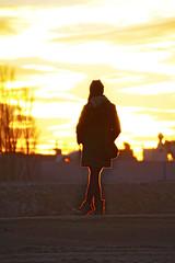 Glow (CoolMcFlash) Tags: person woman sundown sunset sunlight sky winter canon eos 60d tamron b008 18270 silhouette alone frau himmel light licht sonnenlicht sonnenuntergang dusk fotografie photography outdoor cloud wolken wetter weather