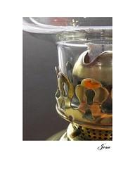 Just Polished! (jesse1dog) Tags: glass lamp oillamp brass shiney ornate holes cutout frets reflection battered old