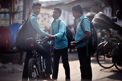Don't Turquoise Me ! (N A Y E E M) Tags: students bicycle uniform afternoon light street candid kazirdewri chittagong bangladesh windshield