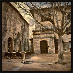 San Gimignano. (odinvadim) Tags: mytravelgram paintfx textured textures iphone editmaster travel iphoneography sunset evening iphoneonly church painterly artist snapseed landscape photofx specialist iphoneart graphic painterlymobileart