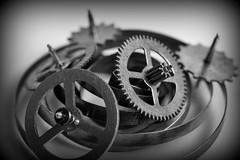 B&W - Macro Mondays (Crisp-13) Tags: macromondays bw macro mondays black white monochrome wheels cog cogs timer spring