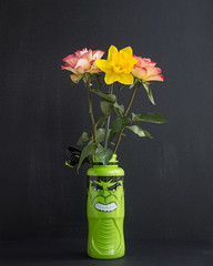 Two Roses A Daffodil And The Hulk (cas lad) Tags: rose hulk vase flower flowers waterbottle caslad daffodil roses