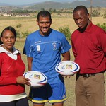 SOS Kit Aid - Pocweni Primary Head Teacher & Sports Teacher with Mario and SOSKitaid balls!