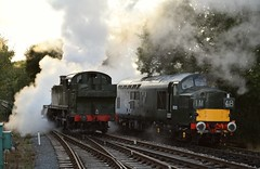 GWR Large Prairie Tank Loco 4141 moves off the stabling point, with the cylinder drain cocks open and pushing a cloud of steam ahead of itself, blocking out the setting Sun. 26 08 2015 Epping Ongar Railway (pnb511) Tags: heritage smoke engine rail railway loco trains steam locomotive class37 diesels eppingongarrailway northwealdstation