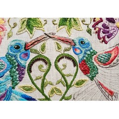 Secret Garden Hummingbirds Progress (katiemueller80) Tags: needlework embroidery stitching stitchery secretgarden stitchy handembroidery needlenthread grandmacrafts