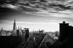 """B&W Sunrise"" (helmet13) Tags: chimney sky bw clouds sunrise raw cityscape cathedral roofs ulm aoi rooftiles ulmermünster 100faves peaceaward heartaward platinumheartaward world100f platinumpeaceaward d800e picturesfrommyhometown"