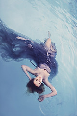 Watercolour (Stephanie Humphries) Tags: ocean blue sea wet water pool girl fairytale swimming model dress purple outdoor creative violet floating peaceful calm watercolour romantic dreamy tranquil drifting