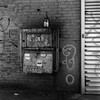 Brooklyn Still Life (colinpoe) Tags: blackandwhite ilfordhp5 mediumformat 6x6 brick streetphotography grafitti rodinal150 cooks texture urban bottle street gritty nyc newyorkcity rodinal hp5 greenpoint bw ilford tlr 120