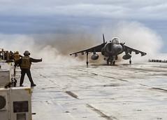An AV-8B Harrier launches off the flight deck of USS Wasp. (Official U.S. Navy Imagery) Tags: av8bharrier amphibiousassaultship lhd1 marines sailors flightdeck usnavy deployment usswasp 22meu atlanticocean usmarinecorps