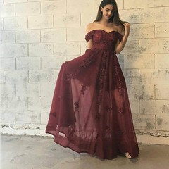 prom dresses (maweiyu) Tags: stylish burgundy prom dress offtheshoulder floorlength with lace appliques