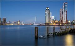 Rotterdam (jeanny mueller) Tags: rotterdam erasmusbrug harbor city citylights hafen holland netherlands niederlande cityscape sunset sunrise bluehour bridge architecture longexposure