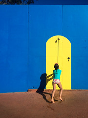 Summer (shades of) blues (Evens & Odds) Tags: summer downunder vibrant colours blue yellow paint wall shower beachlife d7000 kids kidslife