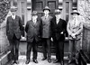 Irish Boundary Commission's first sitting in Ireland retouched large (Old Irish Photo Rescue) Tags: hoganwilsoncollection wdhogan nationallibraryofireland irishboundarycommission 1924 men suits doorway spats armagh boundarycommission themall angloirishtreaty bourdillon fisher feetham macneill beerstacher restore restored retouch retouched photoshop