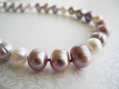 Knottin' Pearls Mauve and White Pearl Necklace (elmangels) Tags: knottin pearls necklace jewelry jewellery cultured freshwater love gift girlfriend wife mother knotted strand classic mauve white style accessories wedding bridal