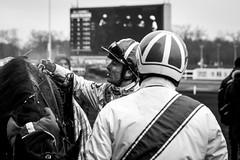 Debriefing (photosreggar) Tags: bleu portrait noiretblanc jockey people raffin ericraffin horse racing cheval chevaux vincennes hippodromedevincennes hippisme hippique sport horseracing