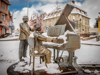 musicians in the snow