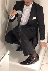 white-tie-shower-1_10300234105_o (shinydressshoes) Tags: tails tailcoat tuxedo suit muddy gunge wet shiny shoes shinyshoes leather patent dressshoes groom wedding whitetie frack formal shower lackschuhe lackschuh
