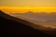Sunset far from Mont Aiguille (f1ijp) Tags: orange montagne mountain landscape exterieur outside sunset sunrise forest sky ciel cloud nuage alps alpes grenoble france vercors