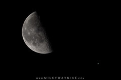 Quarter Moon and Jupiter (Mike Ver Sprill - Milky Way Mike) Tags: quarter moon phase new jersey milky way mike jupiter craters satellite earths michael versprill ver sprill planets planet large telephoto stack stacking