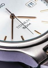 Titanium (Pixelated Sky) Tags: second white titanium letters macro grey madeofmetal purple timepressure late time gold hands watch macromondays metal
