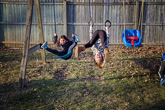 365 Project - March 4 (lupe1515) Tags: 365 project hannah isla cousins outside swingset straddle fun hang