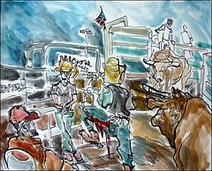 Big Mac Awaits (Kerry Niemann) Tags: bullriding hitchingpost apachejunction inkandwatercolor