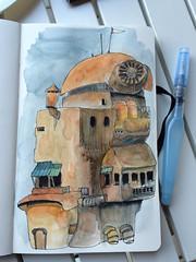 Steampunk building (matteotarenghi) Tags: building illustration watercolor sketching matteo steampunk tarenghi tumblr