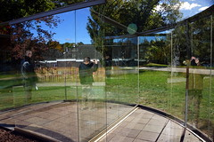 deCordova sculpture park, Lincoln MA (Boston Runner) Tags: park sculpture reflection fall museum massachusetts foliage transparency lincoln decordova dangraham twoentrances crazyspheroid