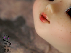 Naia WIP (Nepenthe (Sutura Workshop) - NEW ACCOUNT!) Tags: blue detail cute girl doll natural sweet ooak makeup wip lips full plastic planning workshop kawaii groove bjd pullip custom fc abs eyebrows custo jun naia mueca nepenthe maquillaje pecas freckels sutura faceup stica