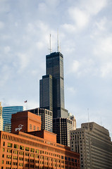 Willis Tower more commonly known as Sears (jgrewal_12) Tags: city pink chicago green tower skyline architecture skyscraper train illinois nikon day cta time outdoor clinton sears s line willis d7000