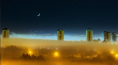 "Ethereal Glasgow: ""Drifting Fog Glasgow Night"" (gerard.ferry) Tags: street old uk november blue urban cold art look yellow fog night skyscraper docks river stars lights scotland clyde smog high nacht glasgow off flats ethereal nightscene rise sodium drifting tenements shipyards rools driftingfogglasgownight"