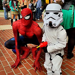 Spidey and the Tiny Stormtrooper (misterperturbed) Tags: starwars spiderman baltimore disney stormtrooper baltimorecomiccon bcc2015 baltimorecomiccon2015 tstunningspiderman