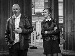 A Chill In The Air (Leanne Boulton) Tags: life street city uk light shadow portrait people urban blackandwhite bw woman white man black detail male texture girl monochrome face look female canon 50mm mono scotland living blackwhite pretty natural emotion humanity bokeh outdoor expression glasgow candid culture streetphotography bodylanguage scene depthoffield human shade 7d posture gesture society tone facial candidportrait candidstreetphotography