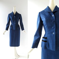 1940s blue tweed suit with velvet trim (Small Earth Vintage) Tags: blue velvet suit 1940s tweed 40s vintageclothing skirtsuit vintagefashion womensfashion smallearthvintage