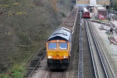 Passing Northolt (crashcalloway) Tags: diesel tube locomotive londonunderground centralline class66 gbrf northoltstation 66755 newnorthmainline