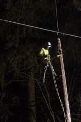 Night work in Covington (Puget Sound Energy) Tags: seattle trees storm loss lines electric power wind stormy electricity wa restoration powerline poweroutage poles powerpole pse blackdiamond outage downed highwinds pugetsoundenergy windgusts pugetpower downtree