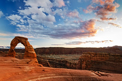 Sunset at Delicate Arch (Pillars of Creation Photography) Tags: arch delicate arches national park sunset clouds sky rocks mountains manit la sal utah moab lonely peaceful tranquil quiet serene serenity desert