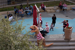 1612 Where's Waldo flashmob25 (nooccar) Tags: dtphx 1612 improvaz dec2016 nooccar cityscape devonchristopheradams whereswaldo contactmeforusage devoncadams dontstealart flashmob photobydevonchristopheradams trex inflatable dinosaur