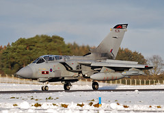 Tornado in the Snow (np1991) Tags: royal air force raf lossiemouth lossie moray scotland united kingdom uk nikon digital slr dslr d60 nikor 70300mm 70 300 70300 mm aviation planes aircraft snow winter 2010 panavia tornado gr4 617 squadron sqn dambusters 12b 12 twelve b bomber