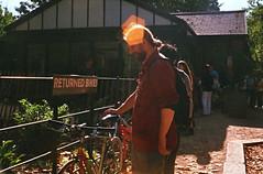 (The Integer Club) Tags: film 35mm yashicaelectro35gt 2016 london uk batterseapark lensflare summer bicycle roadbikes diy carrera