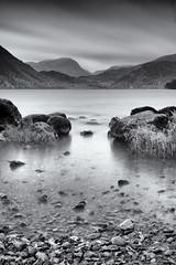 Through the Gap (Delta Skies) Tags: ullswater lake district lakes cumbria water still long exposure monochrome black white