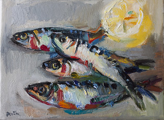 Still Life with Sardines and a Lemon