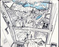mont St Eynard au chaud vu d'une salle de réunion du taf (dege.guerin) Tags: grenoble chartreuse urbansketch ville