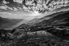 Woven In Light (Anna Kwa) Tags: 龙脊梯田 longshengriceterraces 龙胜梯田 dragonsbackbone guilin guangxi china pieganvillage 2600ft annakwa nikon d750 afszoomnikko1424mmf28ged my time miss always stand alone lands moutains woven tapestry lines shimmer seeing heart soul travel world answer forever fate thelongroad passenger light rays sunset throughmylens