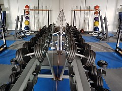A Gym in the Mirror.. (Michael C. Hall) Tags: gym weights dumbells machine floor mirror reflection image exercise indoor