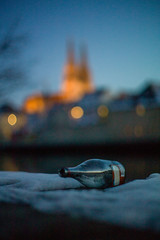 Regensburg: the party is over (mripp) Tags: bottle flasche alkohol alcohol regensburg ratisbonne cathedral dom st peter spenden feier party bringing booze color sunset art kunst retroo vintage old leica m9 summilux 50mm f14 blue sky himmel spendenskandal