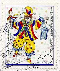 great stamp Germany 60 pf. Clown (150th Anniversary of Mainz carnival, Mainzer Karneval (Fasching, carnival, カーニバル, karnevaali, Mardi Gras, el carnaval, 축제, карнава́л, carnevale, 狂欢节, karnawał, καρναβάλι) timbres Allemagne sellos Alemanha selos Alemania (stampolina, thx ! :)) Tags: anniversary mainz carnival mainzerkarneval fasching カーニバル karnevaali mardigras elcarnaval 축제 карнава́л carnevale 狂欢节 karnawał καρναβάλι karneval color colour colorful colourful bunt coloré kleurrijk colorato カラフル 华美 γραφικόσ kolorowy colorido barvita pestrý красочный färgrik clown клоун 小丑 pitre κλόουν payaso klaun klovn ピエロ błazen palyaço trúður bohóc klovni palhaço klauns klounas gutt 시골뜨기 kloun klaŭno deutschland germany stamps timbre bolli funny lustig